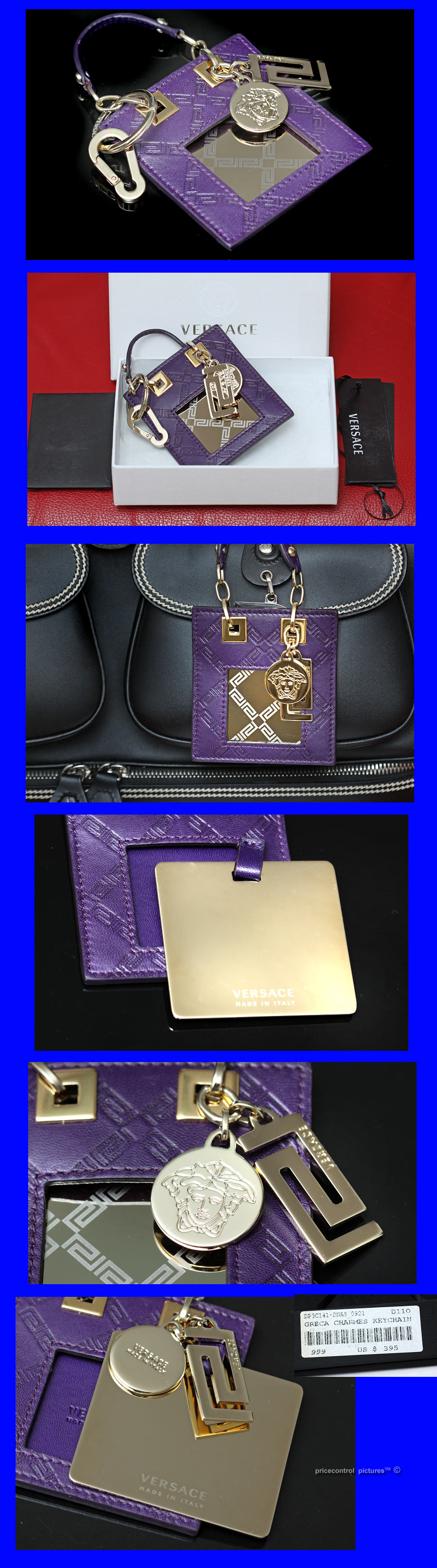 437421407131  395 VERSACE Purple MEDUSA BAG CHARM   KEY FOB